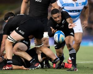 Aaron Smith gets the ball away as the All Blacks returned to form, thumping the Pumas 38-0 on...