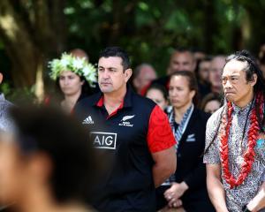 Maori All Black coach Clayton McMillan (left) and Moana Pasifika coach Tana Umaga take part in...