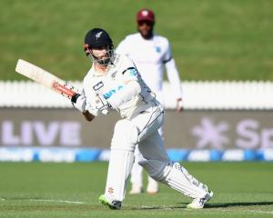 Kane Williamson plays a shot during his unbeaten 97 at Seddon Park against the West Indies...