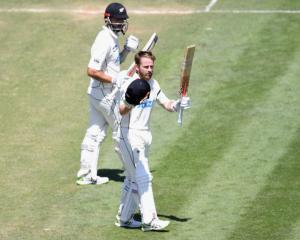 Kane Williamson of New Zealand celebrates his double century. Photo: Getty Images