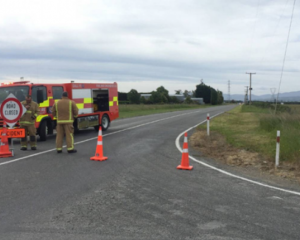 The scene of the three-vehicle crash. Photo: NZ Herald