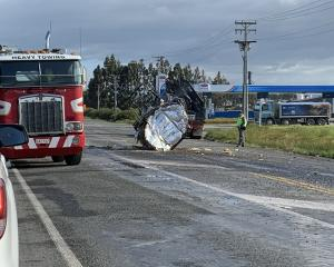 A tank full of bitumen fell off a truck when it crashed and rolled in Southland yesterday. That...