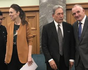 New Foreign Minister Nanaia Mahuta, PM Jacinda Ardern, Winston Peters and Speaker Trevor Mallard...