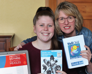 Eirwen Mitchell and daughter Samantha Tulett hunt out old records to upload
