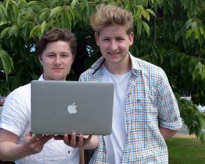 University of Otago students Alex Thomson (left) and Gabriel Dykes are developing their business...
