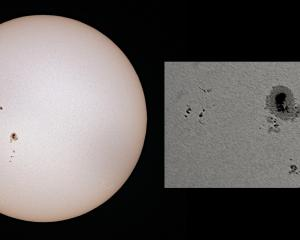 Several solar spots were visible last weekend, including one that was larger than Earth. PHOTOS:...