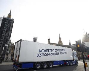 A truck takes part in a Brexit protest at Parliament Square in London. Photo: Reuters