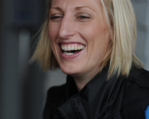 Former Otago Rebels and Southern Steel defender Demelza Fellowes has a giggle with a reporter in...