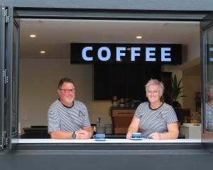 Glenn and Toni Sowman at their new cafe, Triangle Espresso. Photo: Ashburton Courier