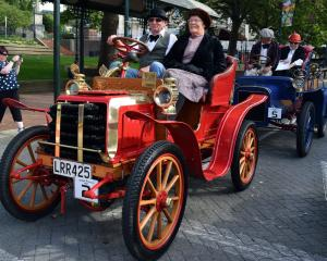 Gavin and Annette Hunt at the start of the Dunedin to Brighton Veteran Car Rally. Photo: ODT
