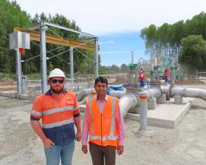 Site manager Mitch Arnold (left) and project manager Shyamal Ram at the new pumping station....