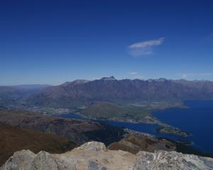 Queenstown and the Remarkables viewed from the Ben Lomond summit. PHOTO: ALINA SUCHANSKI