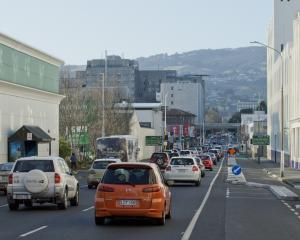 The one- way system heading north on Cumberland St, outside Countdown. Photo: ODT files