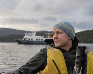 Dusky Sound expedition director William McKee approaches Mamaku Indian Island. PHOTO: CHRIS KWAK