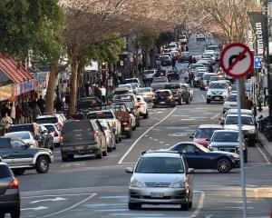 Traffic and parking are the big issues facing George St. PHOTO: ODT FILES