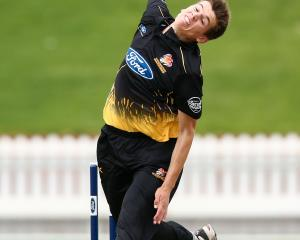 Wellington's Ben Sears ripped the top off the Otago order, picking up 4/21. Photo: Getty Images
