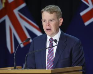 Minister for Covid-19 response Chris Hipkins during today's press conference. Photo: Getty Images