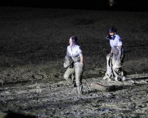 Two police officers got covered in mud trying to save a woman in distress on Friday night. Photo ...