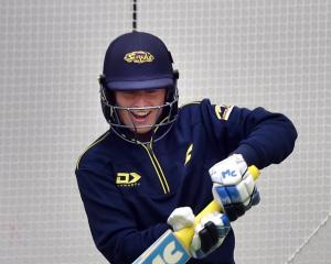 Otago Sparks cricketer Hayley Jensen gets in some batting practice at the Edgar Centre yesterday....