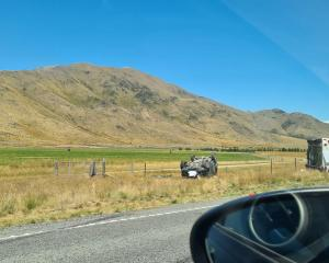 Emergency services were called to the crash on the Twizel-Omarama Rd about 12.30pm. Photo: Supplied