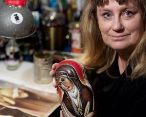 Dunedin artist Kezia Field paints Russian nesting dolls with images of inspirational women to...