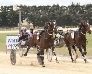 First starter Wattlebank Star (left) holds out Maree Long to win at Roxburgh yesterday. PHOTO:...