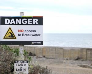 Oamaru breakwater has new signs indicating no public access. PHOTO: KAYLA HODGE