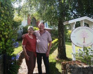 Liz and Dave Clare outside their Oamaru bed and breakfast Oasis on Orwell, which has won a...