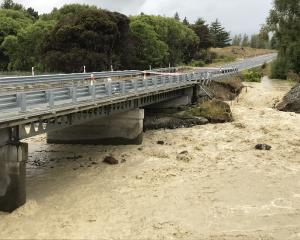 Water rushes under Parsons Creek Bridge near Otematata last week. PHOTO: ROBERT BAXTER