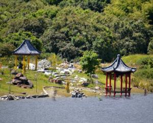 Ross Lake, Jones Creek and the Chinese Miners' Memorial Gardens in Ross. PHOTO: GREYMOUTH STAR