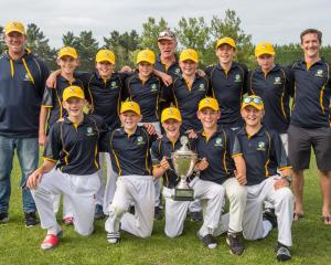 The winning Otago Country primary schools cricket team after winning its final in Rangiora. Back...
