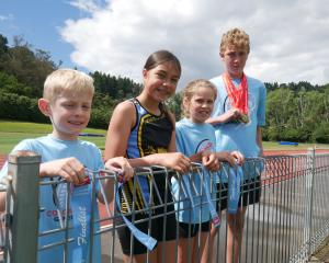 Among Dunedin junior athletes who competed at the South Island Colgate Games are (from left) Max...