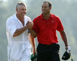 Steve Williams (left) with Tiger Woods in 2011. Photo: Getty Images