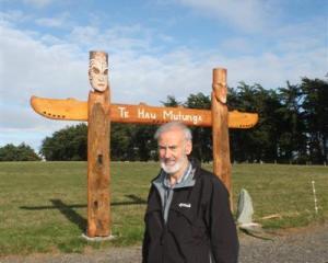 Waihopai Runuka  kaumatua (elder) Michael Skerrett at the entrance to the Maori urupa (cemetery)...