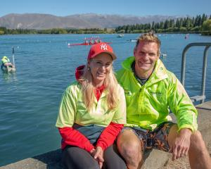 Angie and Mark Edmond at Lake Ruataniwha last weekend, carrying out some boat holding. PHOTO:...