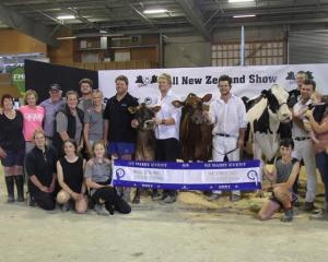 The Gilbert family celebrates success at the New Zealand Dairy Event 2021 in Feilding, winning...