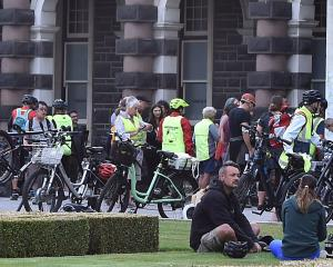 Bicycles are lined up at the 2021 Bike Breakfast at the Dunedin Railway Station on Wednesday...