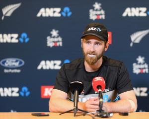 Kane Williamson after yesterday's training session at Hagley Oval. Photo: Getty Images