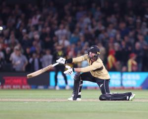 New Zealand's Devon Conway on his way to an unbeaten 99 during game one of the men's...