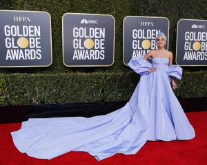 Lady Gaga on the red carpet wearing Valentino. Photo: Reuters