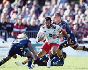 Rene Ranger of the Crusaders charges forward during the Farmlands Cup pre-season Super Rugby...