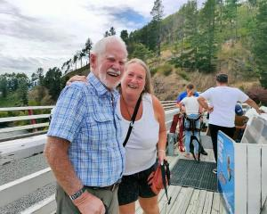 Bruce at the top of the bridge with his daughter Annie Horgan. Photo: Annie Horgan