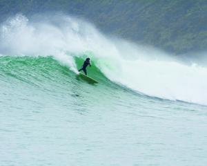 Awarua's little-known A-frame has attracted some of the world's best surfers. PHOTOS: SUPPLIED
