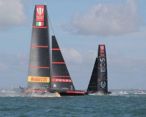 Luna Rossa in action against Ineos Team UK in race two. Photo: Michael Craig