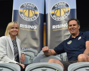 Otago Nuggets spokeswoman Angela Ruske and coach Brent Matehaere at the More FM Arena yesterday....