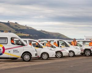 Port Otago's light vehicle fleet of electric vans and cars. PHOTO: SHARRON BENNETT