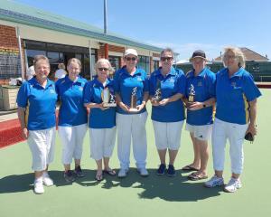 The successful Dunedin women's development team of Helen Carman, Shannon Eathorne, Cathy King,...