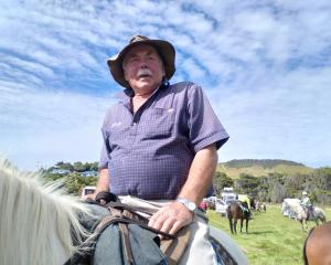 Catlins farmer Marty Miller and Mist prepare to set off on a Goldfields Cavalcade preparation...