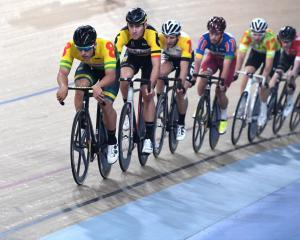 Sam Welsford, who will compete in Invercargill this week, leads the pack at a race in April....