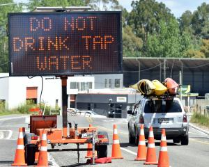 A road sign in Waikouaiti warns people not to drink local water. PHOTO: PETER MCINTOSH